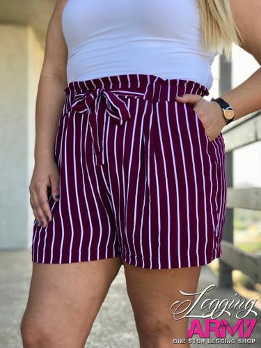 Plus Size Shorts- Burgundy With White Stripes