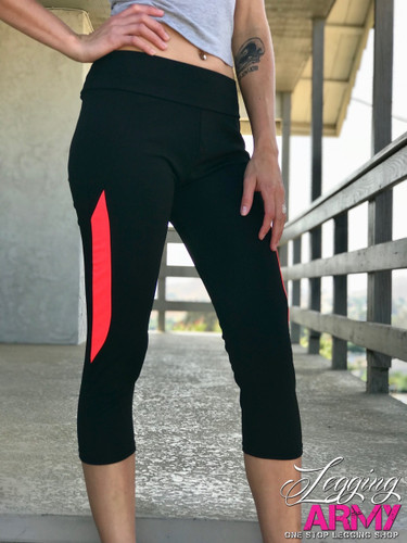 Capri Activewear- Solid Black With Coral