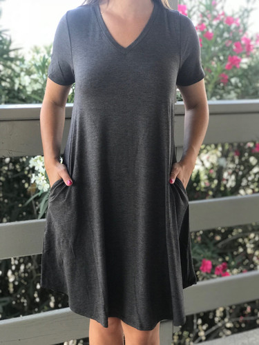 Plus Size Short Sleeve Dress: Charcoal