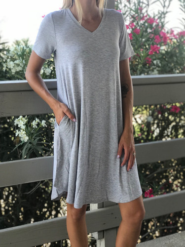 Plus Size Short Sleeve Dress: Heather Grey