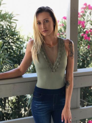 Lace Patch Bodysuit- Olive