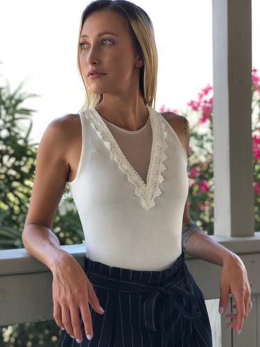 Lace Patch Bodysuit- Ivory