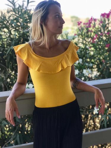 Ruffled Bodysuit- Mustard