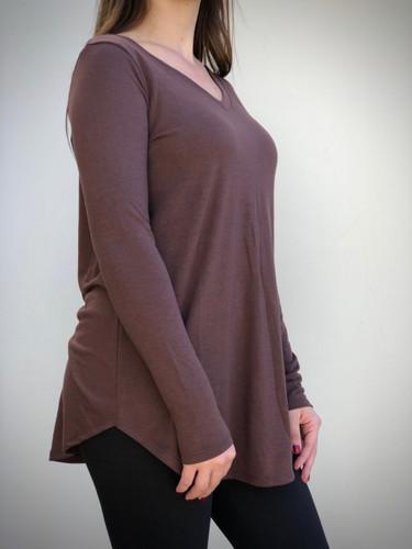 Long Sleeve V-Neck- Brown