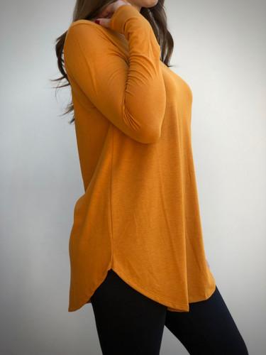 Long Sleeve V-Neck- Desert Mustard