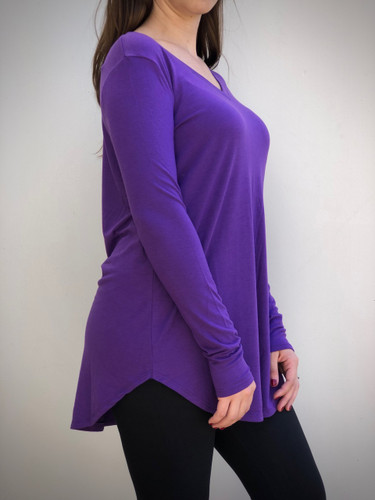 Long Sleeve V-Neck- Purple