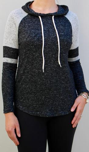Striped Pullover Hoodie- Black