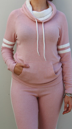 Sherpa Lined Striped Pullover- Blush