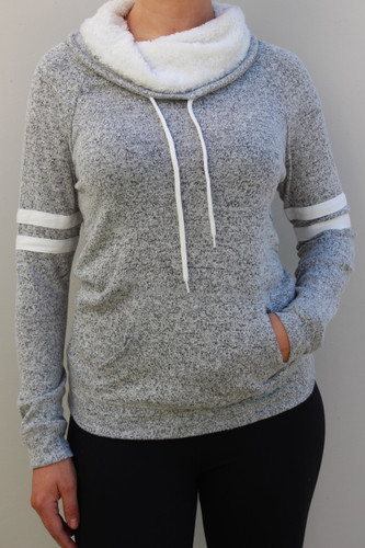 Sherpa Lined Striped Pullover- Heather Grey