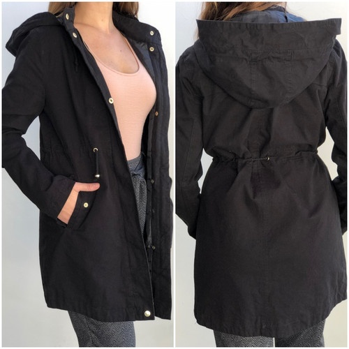 Hooded Anorak Jacket- Black