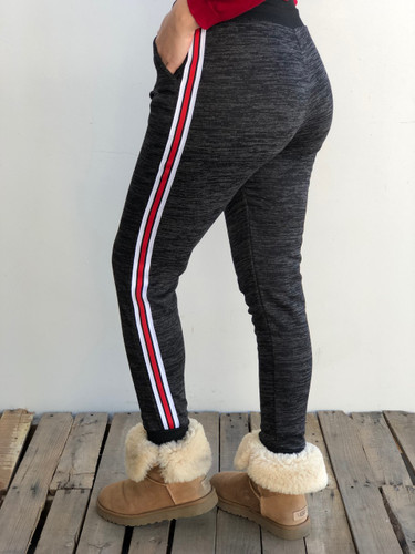 Fleece Jogger- Black With Red And White Stripes