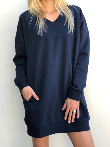 Long Sleeve Sweater- Navy