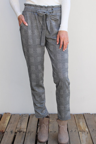Business Pants- Black And Grey Plaid