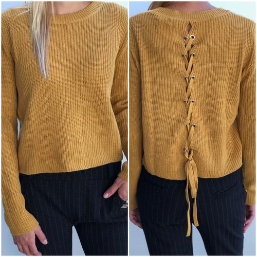 Back Lace-up Sweater- Mustard