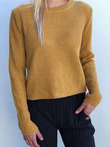 Back Lace-up Sweater- Mustard