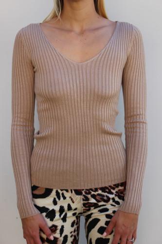 V-Neck Sweater- Khaki