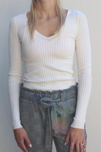 V-Neck Sweater- Ivory
