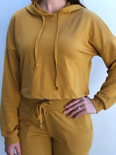 Pullover Crop Hoodie- Mustard