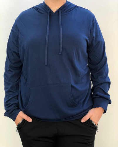 Plus Size Long Sleeve Pullover Hoodie- Navy