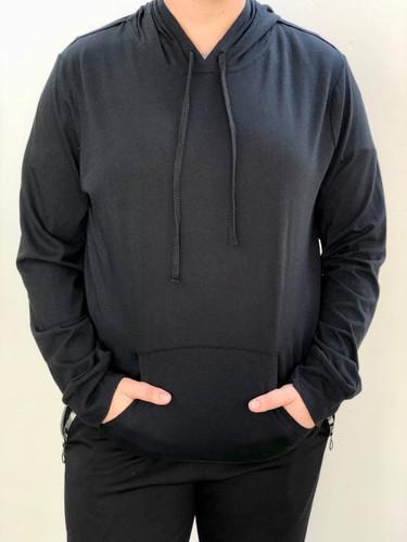 Plus Size Long Sleeve Pullover Hoodie- Black
