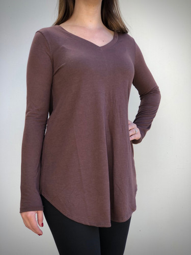 Plus Size Long Sleeve V-Neck- Brown
