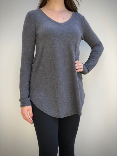Plus Size Long Sleeve V-Neck- Charcoal