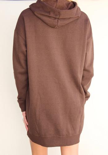 Hooded Long Sleeve Sweater- Brown