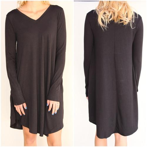 Plus Size Long Sleeve Dress: Black