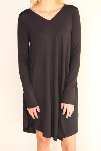 Plus Size Long Sleeve Dress: Black