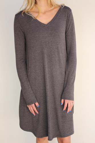 Plus Size Long Sleeve Dress: Charcoal