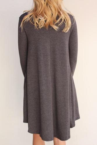 Plus Size Long Sleeve Dress: Charcoal