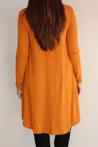 Plus Size Long Sleeve Dress: Mustard