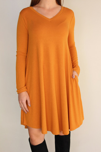 Plus Size Long Sleeve Dress: Mustard