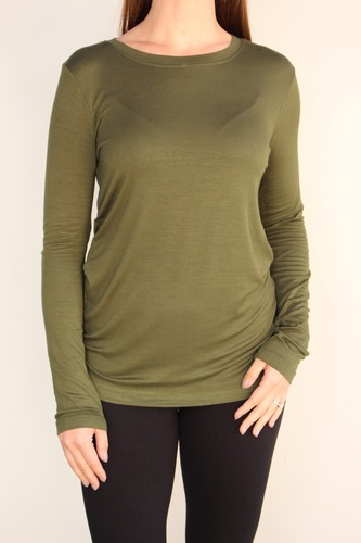 Long Sleeve Round Neck- Army Green
