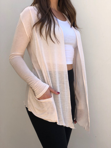 Drape Cardigan With Pocket- Champagne