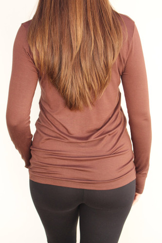 Long Sleeve Round Neck- Brown