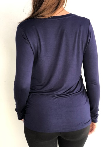 Long Sleeve Round Neck- Navy