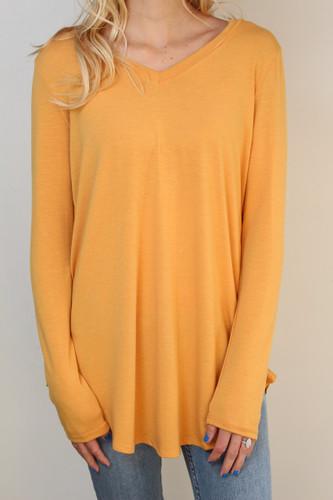 Plus Size Long Sleeve V-Neck- Ash Mustard
