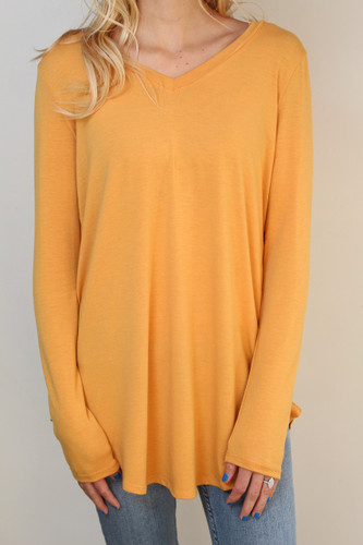 Plus Size Long Sleeve V-Neck- Ash Mustard