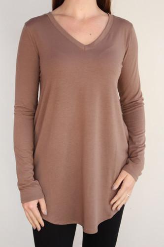 Plus Size Long Sleeve V-Neck- Mocha