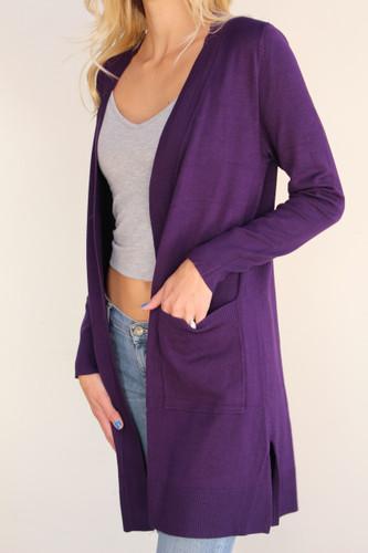 Sweater Cardigan- Dark Purple