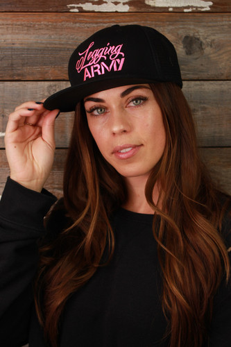 Official Legging Army Hat- Flat Bill With Mesh- Black And Pink