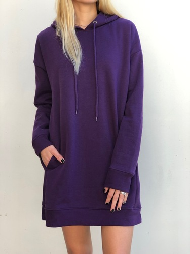 Hooded Long Sleeve Sweater- Dark Purple