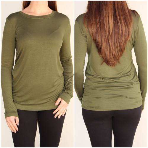 Plus Size Long Sleeve Round Neck- Army Green