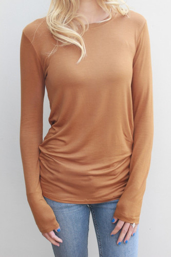 Plus Size Long Sleeve Round Neck- Coffee