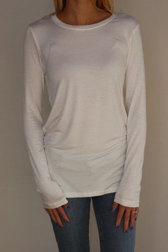 Plus Size Long Sleeve Round Neck- Ivory