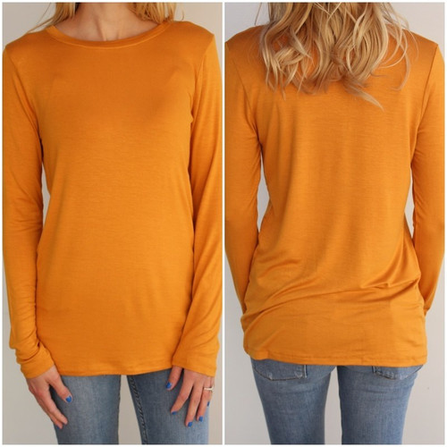 Plus Size Long Sleeve Round Neck- Mustard