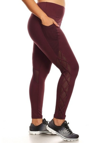 Plus Size Activewear Stealth- Burgundy