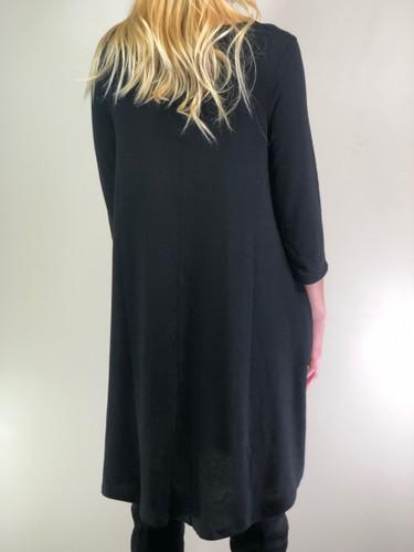 3/4 Sleeve Sweater Dress: Black