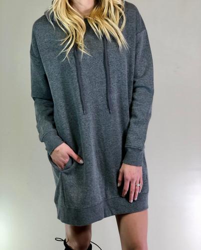 Hooded Long Sleeve Sweater- Grey